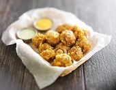 image of chipotle  - beer battered mushrooms with chipotle and jalapeno mayo dipping sauces - JPG