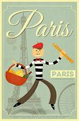 stock photo of french beret  - French Retro Card  - JPG