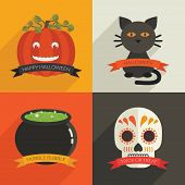 image of cauldron  - set of halloween decorations with pumpkin black cat cauldron and skull with ribbons - JPG