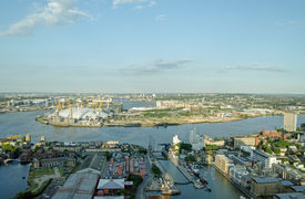 foto of hamlet  - View from a tall building of the meandering River Thames as it passes between North Greenwich and Tower Hamlets in East London - JPG