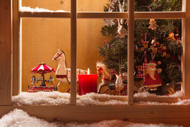 picture of carousel horse  - Atmospheric Christmas Window Sill Decoration:snow,tre E,candle,rocking Horse And Carousel ** Note: Soft Focus at 100%, best at smaller sizes - JPG