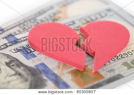 Broken Heartshaped On Us Currency