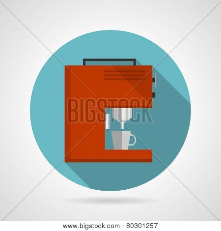 Flat color red coffee machine vector icon