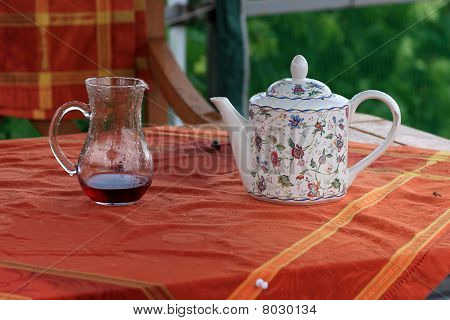 Carafe With Juice And Teapot