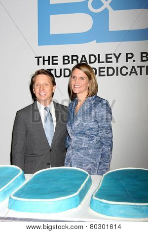 LOS ANGELES - JAN 14:  Colleen Bell, Bradley P. Bell as the  Bold and Beautiful Celebrates 7000th Show at a CBS Television City on January 14, 2015 in Los Angeles, CA