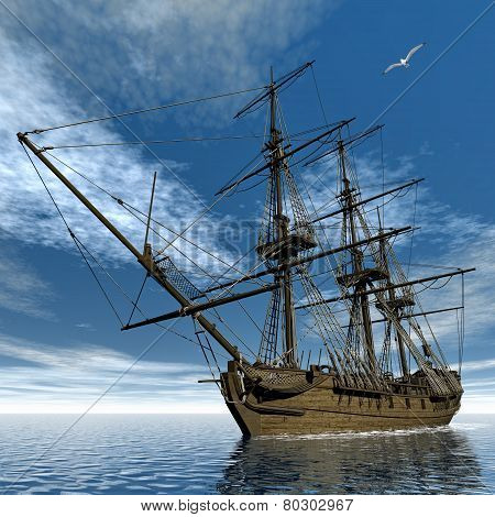 French frigate Medusa, 1810 - 3D render