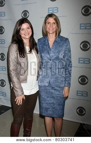 LOS ANGELES - JAN 14:  Heather Tom, Colleen Bell as the  Bold and Beautiful Celebrates 7000th Show at a CBS Television City on January 14, 2015 in Los Angeles, CA