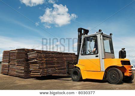 Forklift Loader At Warehouse Works