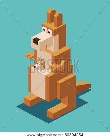 kangaroo with the kid. 3d pixelate isometric vector