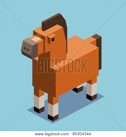 horse. 3d pixelate isometric vector