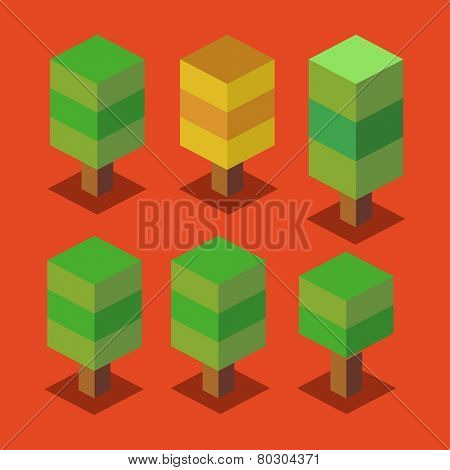 trees set. 3d pixelate isometric vector
