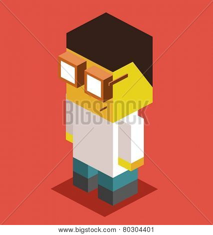doctor. 3d pixelate isometric vector