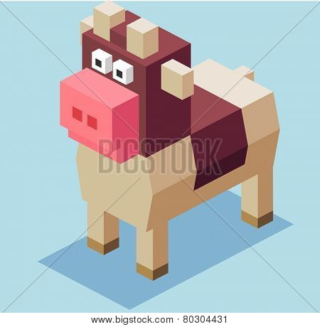 brown cow. 3d pixelate isometric vector