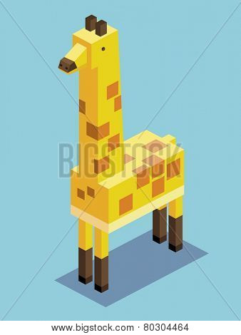 tall giraffe. 3d pixelate isometric vector