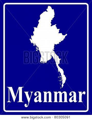 Silhouette Map Of Myanmar