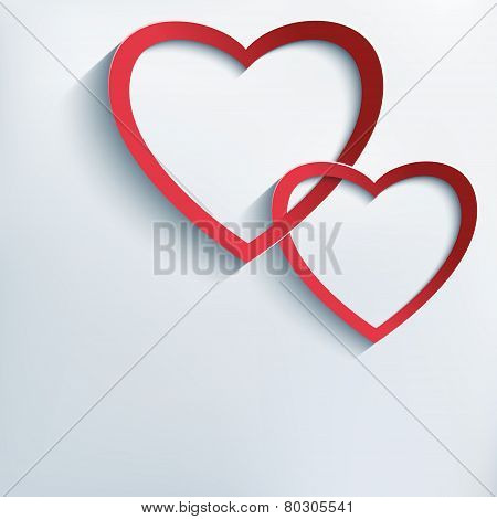 Trendy Background With Paper 3D Hearts