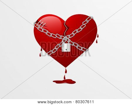 Glossy red broken heart locked by chain on grey background for Valentines Day.