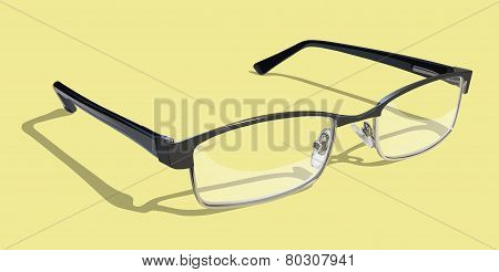 Reading Glasses on Yellow