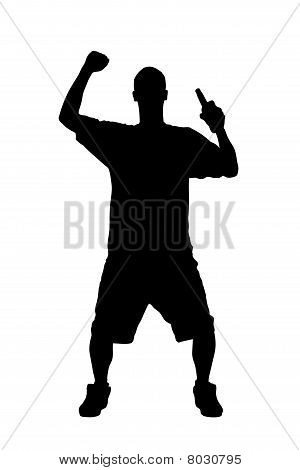 A silhouette of a male sport fan with a beer bottle