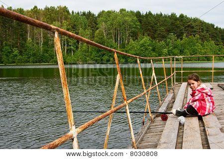 Little Girl Fishing.