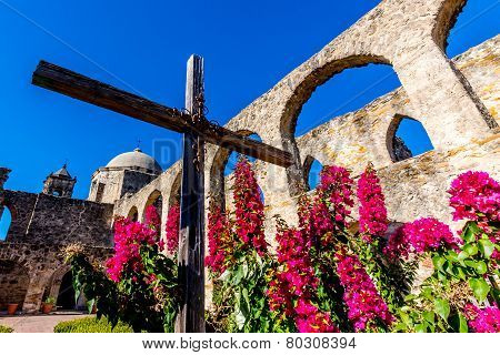 The Historic Old West Spanish Mission San Jose, Founded In 1720, San Antonio, Texas, showing cross.