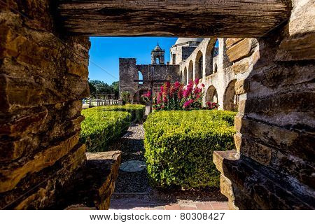 The Historic Old West Spanish Mission San Jose, Founded In 1720, San Antonio, Texas. Prayer Garden.