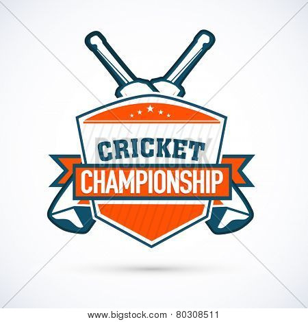 Cricket Championship sticker, tag or label design on shiny grey background.