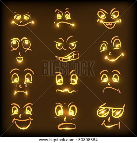 Set of different facial expressions in shiny golden color on brown background.