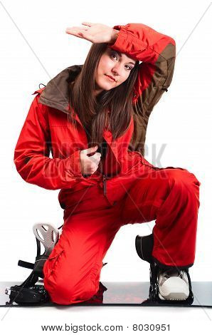 One Beautiful Girl Unfastens One's Clothes. Red Sports Jacket And Snowboard . Isolated On White Back
