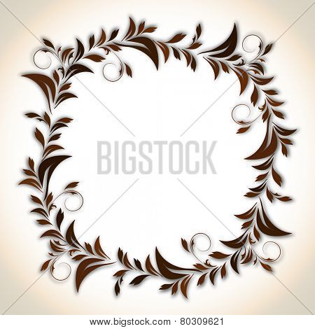 Beautiful rounded frame decorated with floral design and blank space for your message on corner shaded background.