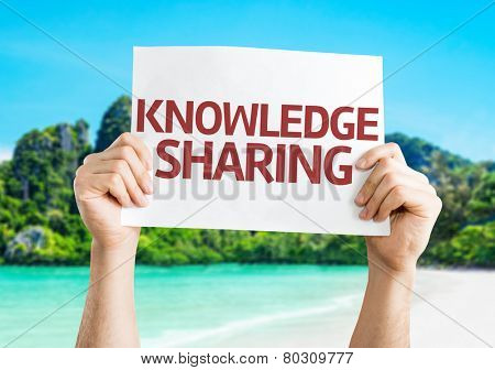 Knowledge Sharing card with a beach on background
