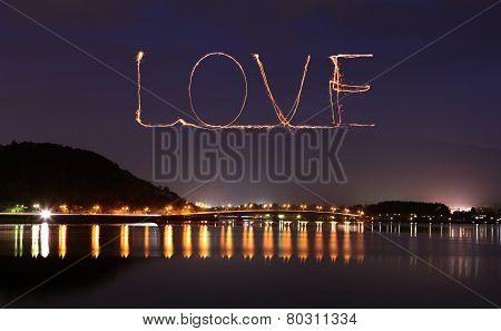 Love Sparkle Fireworks Celebrating Over Bridge Of Lake Kawaguchiko At Night