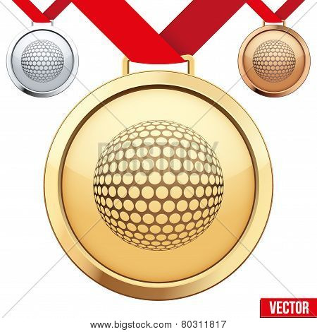 Gold Medal with the symbol of a golf inside