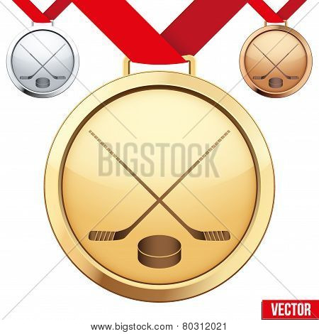 Gold Medal with the symbol of ice hockey inside