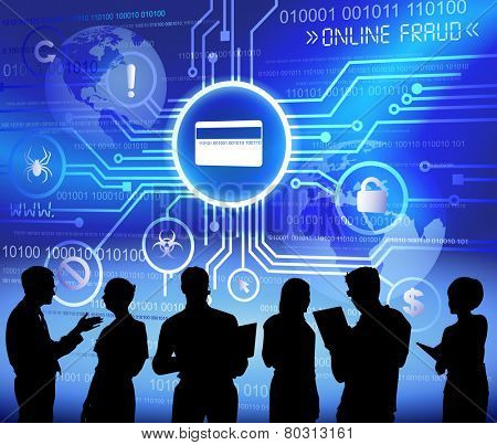 Vector of Business People Discussing about Online Fraud