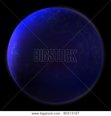 Realistic Blue Planet Isolated On Black Background