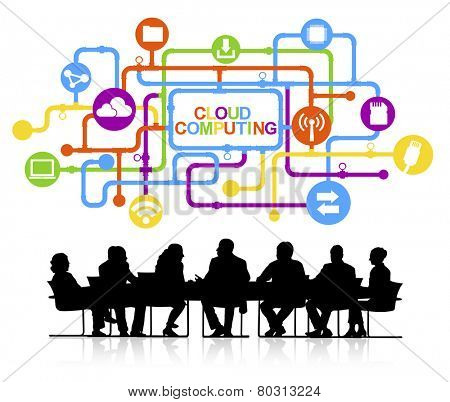 Vector of Business People Discussing Cloud Computing