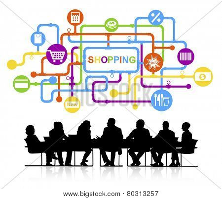 Group of Business People Meeting with Shopping Concept