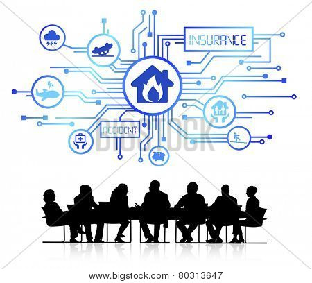Group of Business People with Insurance Concept