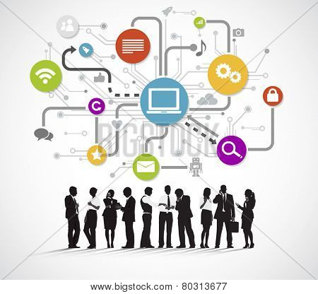 Vector of Business People Discussing Social Media