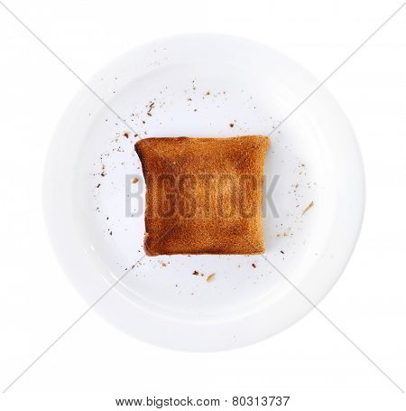 Burnt toast bread on plate, isolated on white background