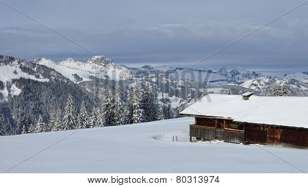 Idyllic Winter Scenery In The Bernese Oberland