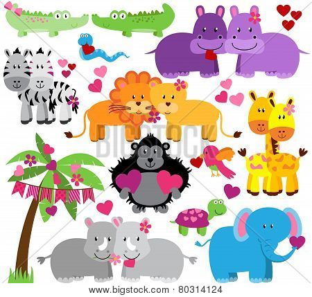 Vector Collection of Cute Valentine's Day or Love Themed Zoo Animals