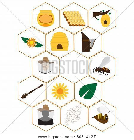 beekeeping icons set