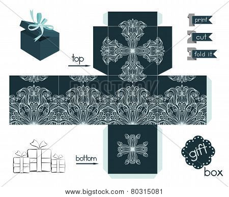 Printable Gift Box With Line Art Pattern