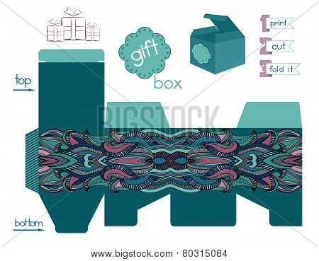 Printable Gift Box With Abstract Ethnic Pattern
