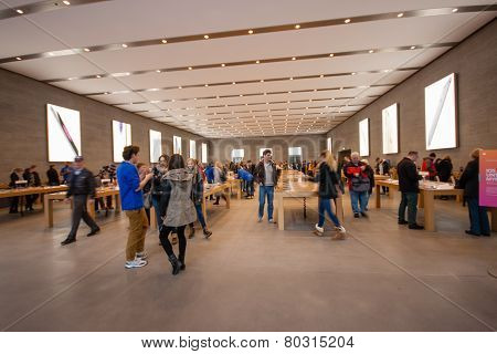 Berlin, Germany - November 12, 2014: Buyers Are Shopping At Kurfuerstendamm Apple Store In Berlin, G