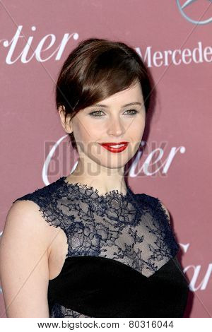 PALM SPRINGS, CA - JAN 3: Felicity Jones arrives at the 2015 Palm Springs Film Festival Awards Gala at the Palm Springs Convention Center on January 3, 2015 in Palm Springs, CA.