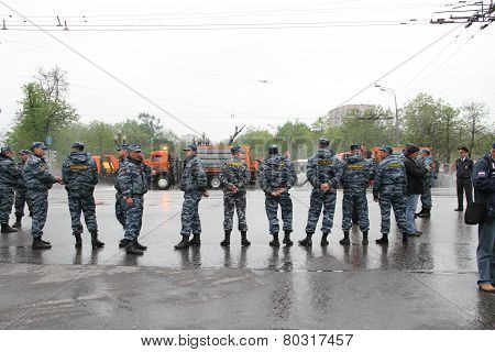 Staff Of The Russian Police Protects Political Procession