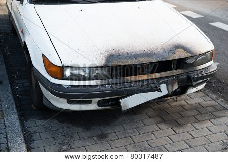 Damaged Car On Street